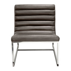 Bardot Lounge Chair With Stainless Steel Frame, Elephant Gray