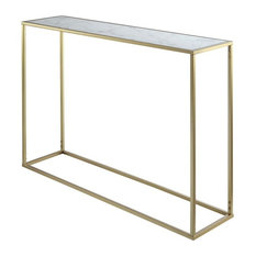 Pemberly Row Faux Marble Top Console Table In Gold