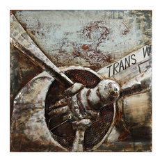 """Retro Airplane 2"" Primo Mixed Media Hand Painted Wall Sculpture Metal Wall Art"