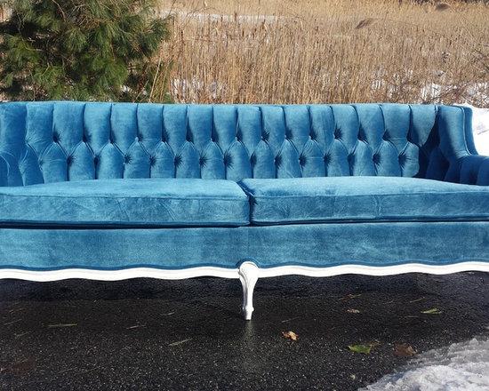 french provincial vintage blue velvet couch redo sofas
