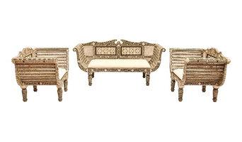 Antique & Vintage Teak Bone Inlay Furniture sofa