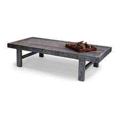 80-inchL Coffee Table Solid Pine Antique Beautiful Blue Distressed Paint Handcrafted