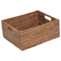 "Artifacts Rattan™ Rectangular Basket with Cutout Handles, Honey Brown, 14""x12""x6"