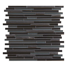 """12""""x12"""" Glass and Stone Mosaic Tile, Midnight, Strips, Set of 50"""
