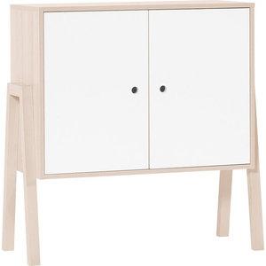 Spot Scandinavian 2-Door Cabinet, Acacia and White