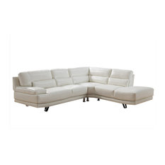 Vivian Leather Craft Sectional Ivory White