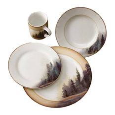 Wild Wings - Misty Forest Pine Tree 16-Piece Dinnerware Set - Dinnerware Sets  sc 1 st  Houzz & Most Popular Rustic Dinnerware Sets for 2018 | Houzz