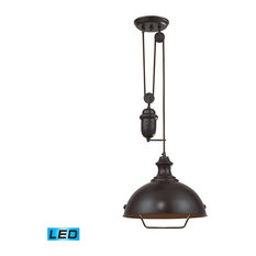 adjustable pendant lighting. ELK Group International - Farmhouse 1-Light Adjustable LED Pendant, Oiled Bronze Pendant Lighting