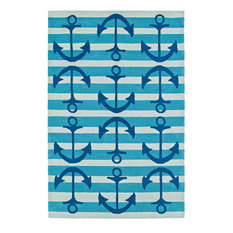 Addison Beaches Nautical Anchors Atlantic Blue Area Rug, Blue, 5'x7'6""