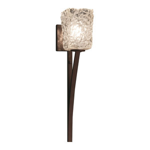 Veneto Luce Sabre 1-Light Wall Sconce, Square With Rippled Rim