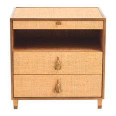 Luxe Textured Gold Contemporary Bedside Chest Tassel Table Drawers