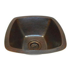 """15""""  Square Copper Bar Kitchen Prep Sink 3.5"""" Drain Included Dual Mount"""