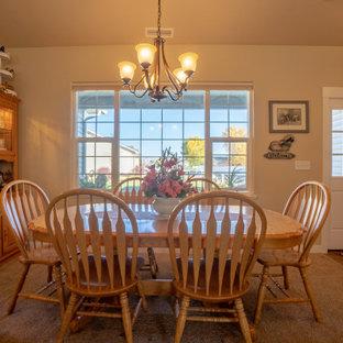 デンバーの中くらいのトラディショナルスタイルのおしゃれなダイニングキッチン (ベージュの壁、カーペット敷き、標準型暖炉、積石の暖炉まわり、ベージュの床、三角天井) の写真