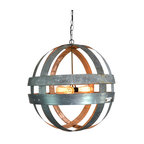 Atom Cyclopean Wine Barrel Double Ring Chandelier