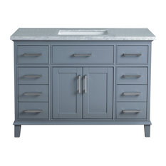 "Stufurhome Leigh Bathroom Vanity, Gray, 48"" Single Sink"