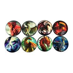 8 Piece Set Colorful Dragon Cabinet Knobs