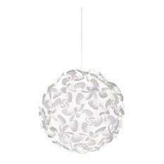 Lora X-Large Globe Plug-In Pendant, White/White