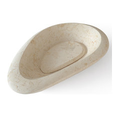 Pebble Stone 24 in. Beige Marble Vessel Sink