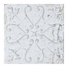 """SomerTile - 7.88""""x7.88"""" Aeon Ceramic Wall Tile, White Ornato, Set of 21 - Tile"""