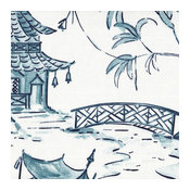 Pinch Pleated Curtain Panels Pair Pagodas Seaside Oriental Toile Blue Cotton, 96