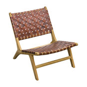 Slent Handwoven Leather Lazy Chair, Tan