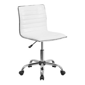 Flash Furniture Leather Swivel Office Chair In White And