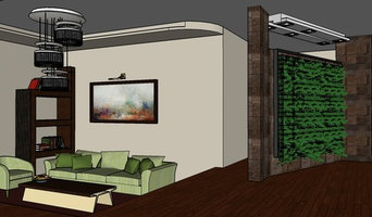 Apartment interior with a green wall (vertical garden)