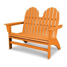 POLYWOOD Vineyard Adirondack Bench, Tangerine