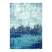 Abstract Rainfall Area Rugs, Blue, 9'x12'