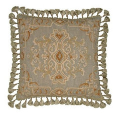 "New Aubusson Throw Pillow 22""x22"" Handwoven Fabric Brown/Beige/Tan"