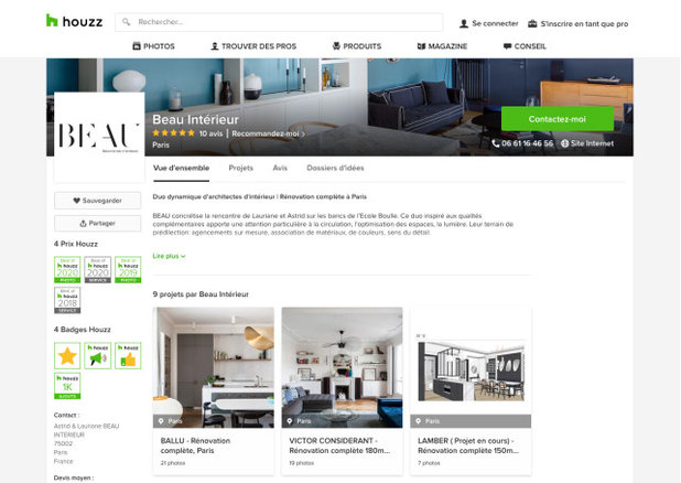 Que signifient les badges Best of Houzz sur le profil des pros ?