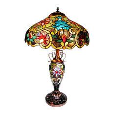 Leslie Victorian 3-Light Double Lit Table Lamp