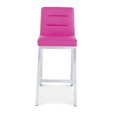 Lynx Counter Height Contemporary Bar Stool with Metal Base - Magenta