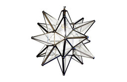 """Moravian Star Light, Seedy Glass With Silver Trim, 15"""" Diameter, With Mount Kit"""