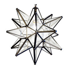 """Moravian Star Light, Seedy Glass With Silver Trim, 19"""" Diameter, With Mount Kit"""