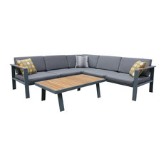Armen Living Nofi 4-Piece Patio Sectional Set, Taupe and Gray