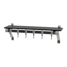 "30"" Stainless Steel Wall Mounted Kitchen Rack With Wood Shelf, Charcoal Gray She"