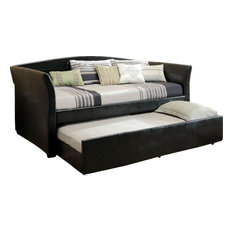 upholstered leatherette daybed with twin trundle casters black daybeds