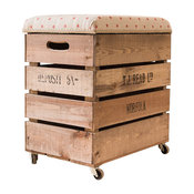 Apple Crate Bar Stool With Star Pattern, Red