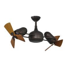 Dagny Rotational Ceiling Fan With Mahogany Tone Blades, Textured Bronze