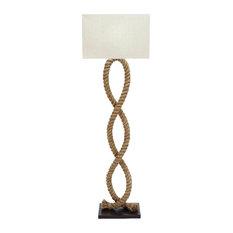 Wood Metal Rope Pier Floor Lamp