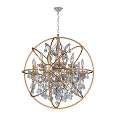 Armillary 13-Light Matte Gold Orb Chandelier, Clear Crystal