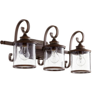 "Bathroom Vanity 3-Light With Vintage Copper Medium Base Bulb, 27"", 300W"