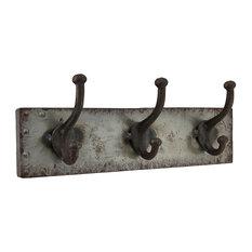 Faux Aged Steel Finish Industrial Style Triple Metal Wall Hook
