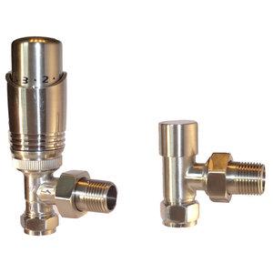 Lewes Thermostatic Radiator Valve and Lockshield Set, Brushed Nickel Plated