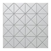 "10.2""x10.2"" Pure Color Triangle Mosaic Tile, White, Matte"
