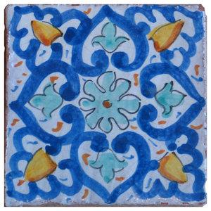Piastrelle Maiolica Orange Floral Terracotta Tiles, Set of 4