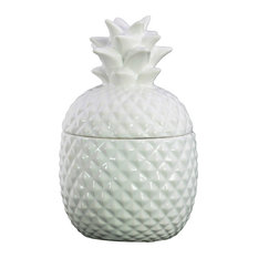Round Ceramic Pineapple Canister, Small, Gloss White Finish, 20 oz.