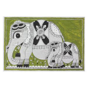 Novica Elephant Connection Madhubani Painting