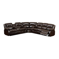 Arans Sectional Sofa Upholstered In Rustic Brown Bonded Leather